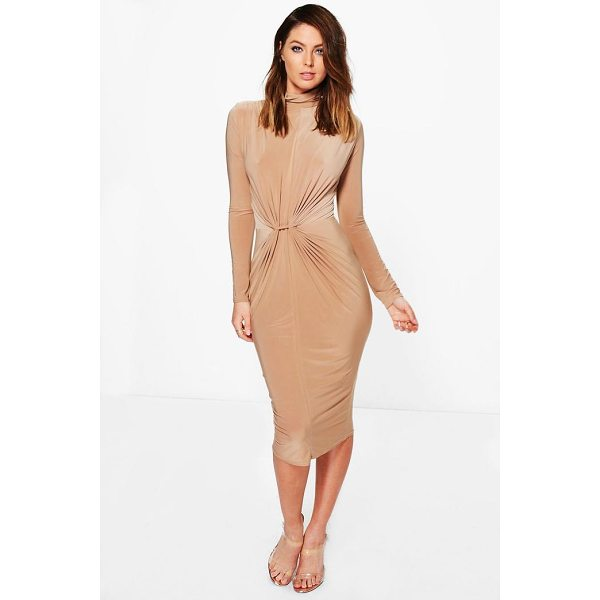 BOOHOO Deborah High Neck Ruched Slinky Midi Dress - Dresses are the most-wanted wardrobe item for day-to-night...