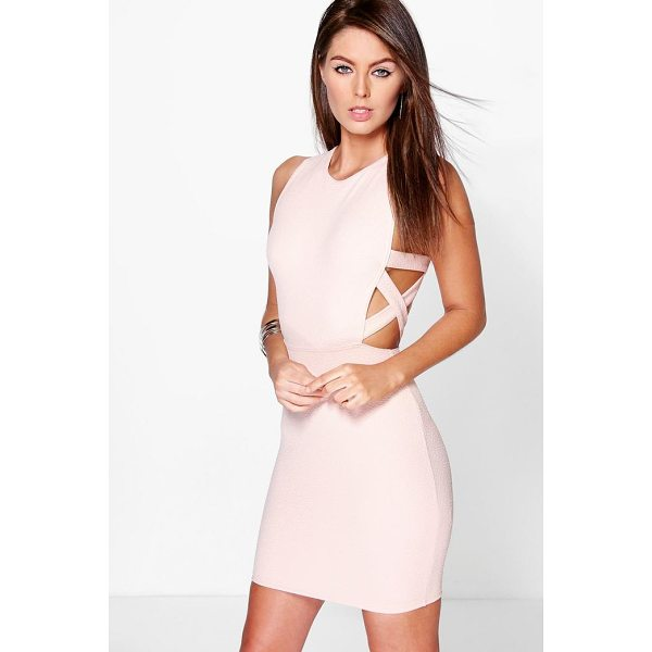 BOOHOO Delia Lattice Side Textured Bodycon Dress - Spin your way through cocktail hour in our selection of...
