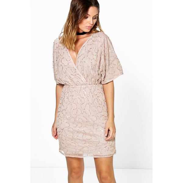 BOOHOO Diana Boutique Sequin Wrap Dress - Get dance floor-ready in an entrance-making evening...
