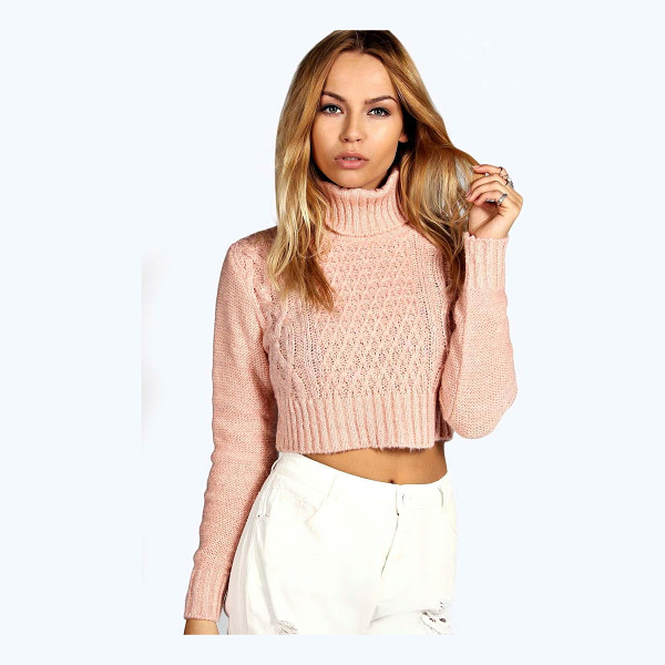 BOOHOO Diana Turtle Neck Cable Crop Jumper - Nail new season knitwear in the jumpers and cardigans that...