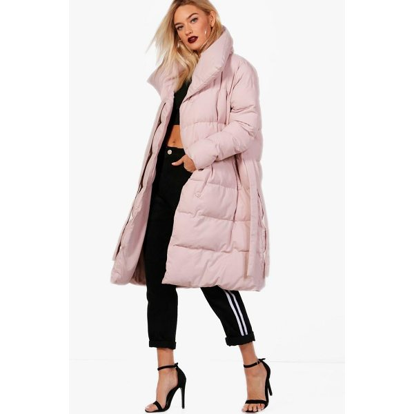 BOOHOO Dionne Longline Padded Tie Front Coat - Wrap up in the latest coats and jackets and get out-there...