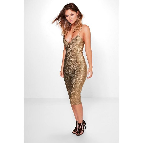 BOOHOO Domenica Metallic Plunge Midi Dress - Dresses are the most-wanted wardrobe item for day-to-night...