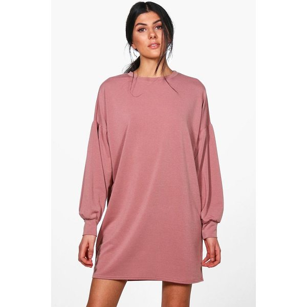 BOOHOO Dora Balloon Sleeve Sweat Dress - Dresses are the most-wanted wardrobe item for day-to-night...