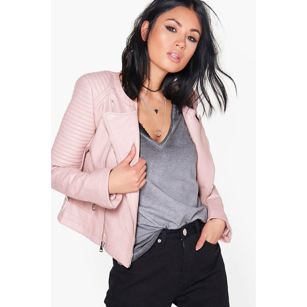 BOOHOO Eleanor Boutique Faux Leather Biker Jacket - Wrap up in the latest coats and jackets and get out-there...
