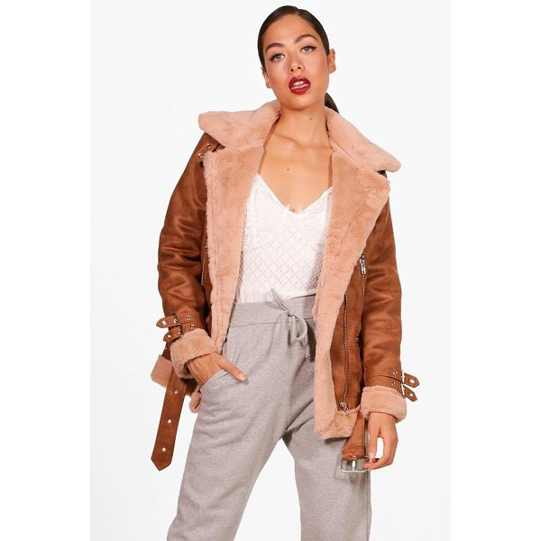 BOOHOO Eleanor Suedette Aviator Jacket - Wrap up in the latest coats and jackets and get out-there...