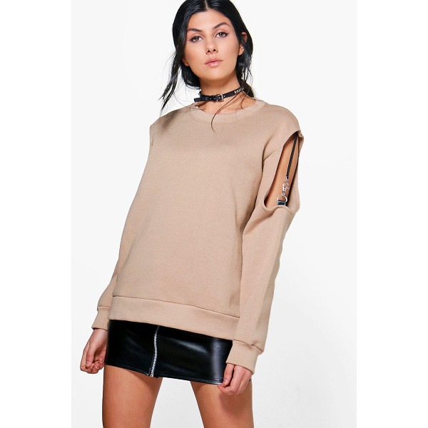 BOOHOO Elena Ribbon Strap Cold Shoulder Sweatshirt - Steal the style top spot in a statement separate from the...