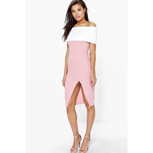 BOOHOO Elin Contrast Off The Shoulder Midi Bodycon Dress - Dresses are the most-wanted wardrobe item for day-to-night...