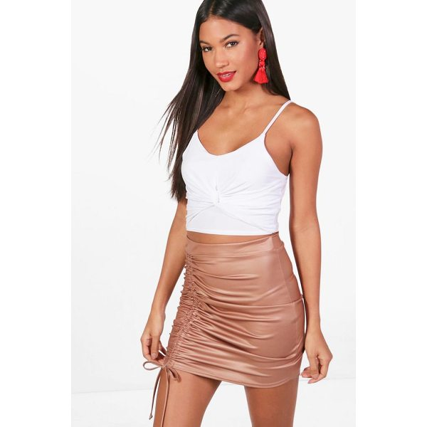BOOHOO Elise Drawcord Leather Look Mini Skirt - Skirts are the statement separate in every wardrobe This...