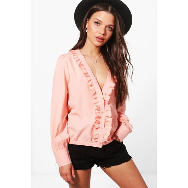 BOOHOO Eliza Ruffle Collar Plunge Shirt - Steal the style top spot in a statement separate from the...
