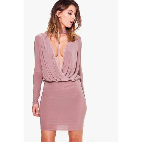 BOOHOO Eliza Slinky Wrap Choker Bodycon Dress - Dresses are the most-wanted wardrobe item for day-to-night...