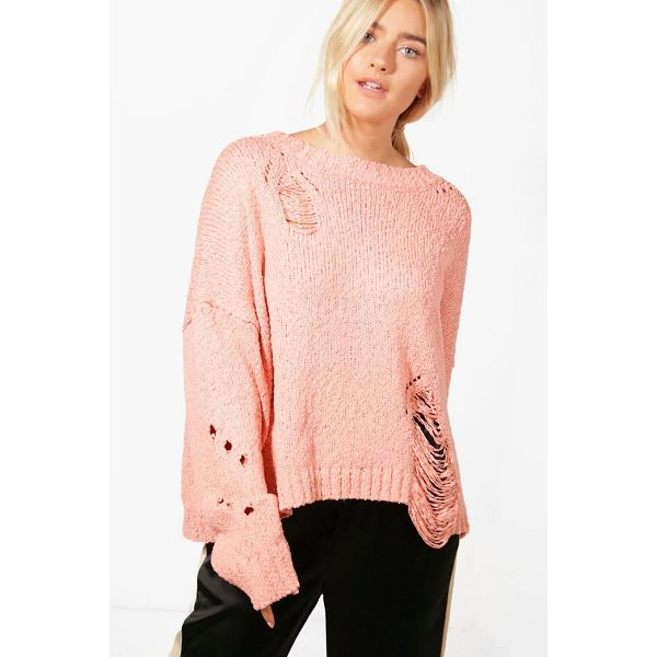 BOOHOO Elizabeth Distressed Jumper - Nail new season knitwear in the jumpers and cardigans that...