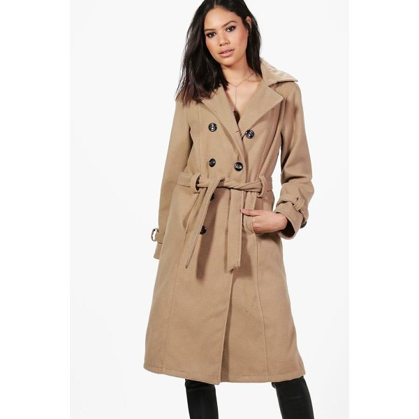 BOOHOO Elizabeth Double Breasted Belted Wool Coat - Wrap up in the latest coats and jackets and get out-there...