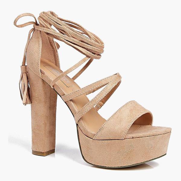 BOOHOO Elizabeth Platform Ghillie Tassel Tie - When it comes to heels, go high or go home!Send your style...