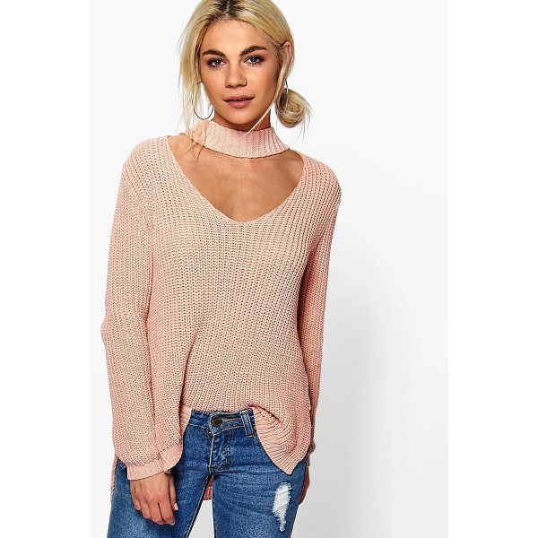 BOOHOO Ella Choker Strap V Neck Jumper - Nail new season knitwear in the jumpers and cardigans that...
