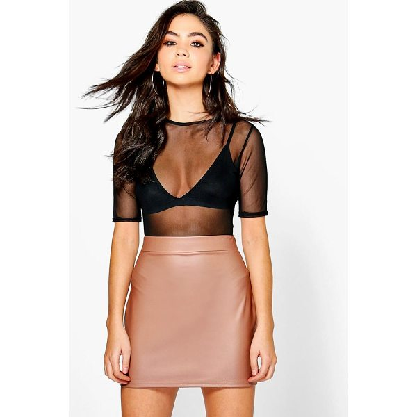 BOOHOO Ella Matte Leather Look Jersey Mini Skirt - Skirts are the statement separate in every wardrobe This...