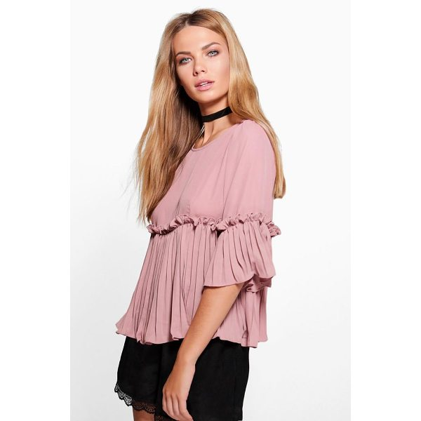 BOOHOO Ella Ruffle Pleated Woven Top - Steal the style top spot in a statement separate from the...