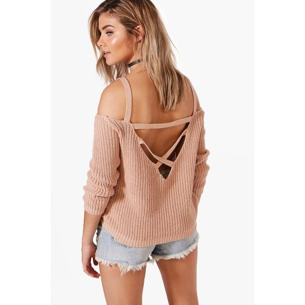 BOOHOO Ella Strap Boucle & Shoulder Jumper - Nail new season knitwear in the jumpers and cardigans that...
