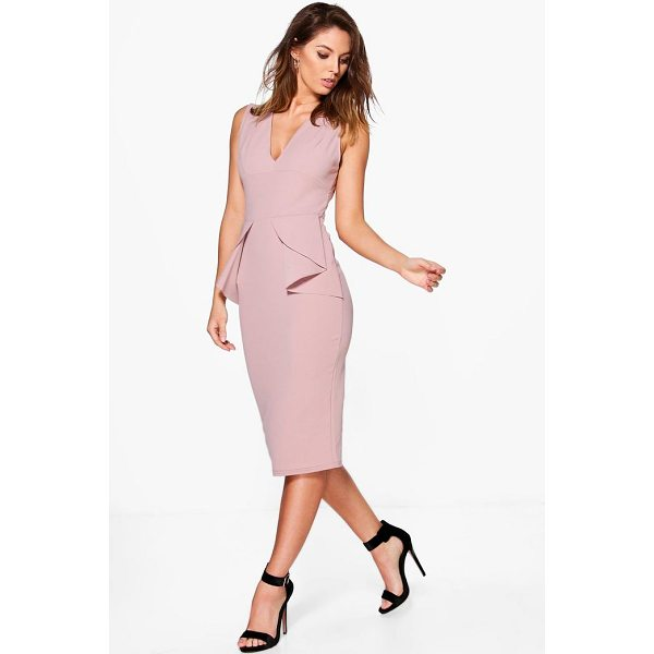 BOOHOO Ellie Fold Peplum Waist Formal Midi Dress - Dresses are the most-wanted wardrobe item for day-to-night...