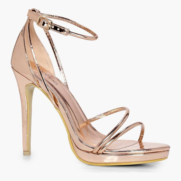 BOOHOO Ellie Metallic Platform Cross Strap Heels - We'll make sure your shoes keep you one stylish step ahead...