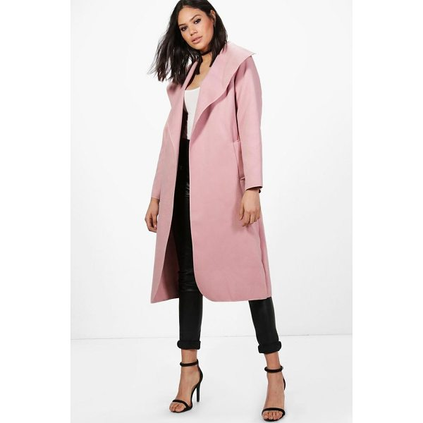 BOOHOO Ellie Oversized Shawl Collar Belted Coat - Wrap up in the latest coats and jackets and get out-there...