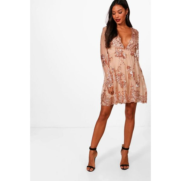 BOOHOO Ellie Sequin and Mesh Long Sleeve Skater Dress - Every girl's wardrobe should include a skater dress. A...