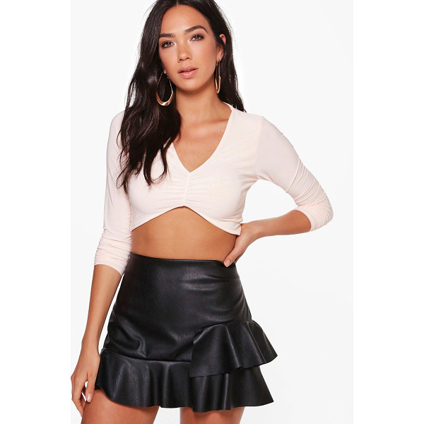 BOOHOO Ellie Slinky Gather Front Long Sleeve Top - Steal the style top spot in a statement separate from the...