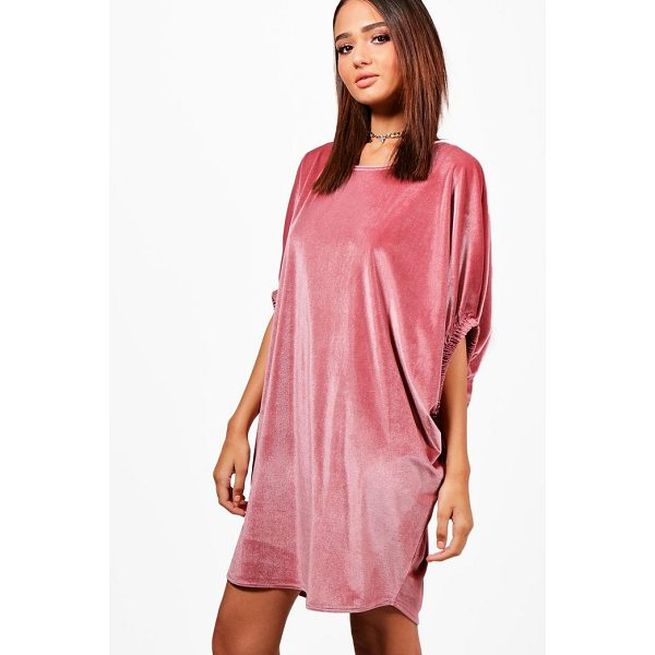 BOOHOO Ellie Velvet Elasticated Sleeve Shift Dress - Dresses are the most-wanted wardrobe item for day-to-night...