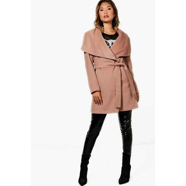 BOOHOO Eloise Belted Waterfall Coat - Wrap up in the latest coats and jackets and get out-there...
