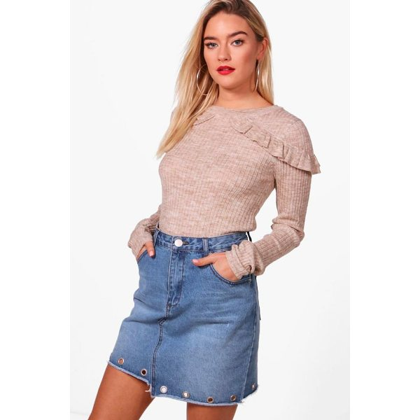 BOOHOO Eloise Rib Jumper With Frill Shoulders - Sweaters are a key piece for your casual wardrobe. Think...