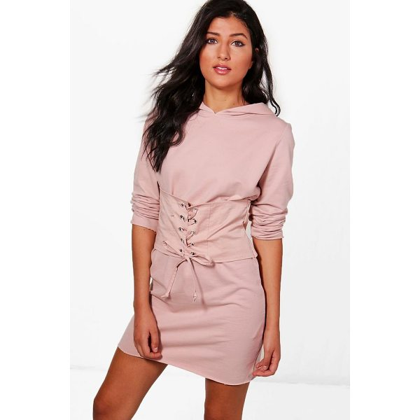 BOOHOO Elora Corset Hooded Sweat Dress - Dresses are the most-wanted wardrobe item for day-to-night...