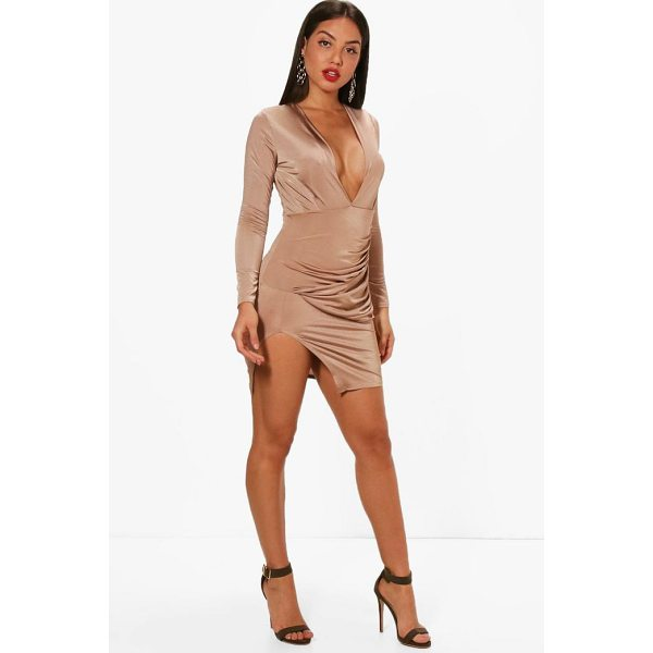 BOOHOO Emi Textured Wrap Detailing Bodycon Dress - Dresses are the most-wanted wardrobe item for day-to-night...