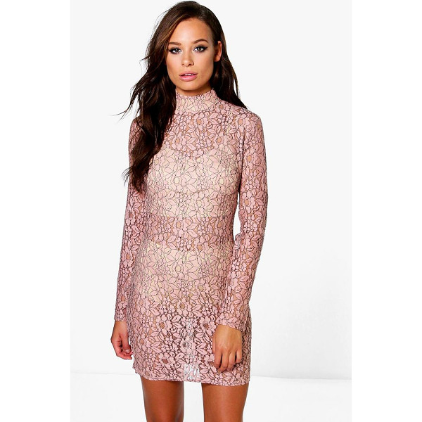 BOOHOO Emiko High Neck All Over Lace Bodycon Dress - Dresses are the most-wanted wardrobe item for day-to-night...