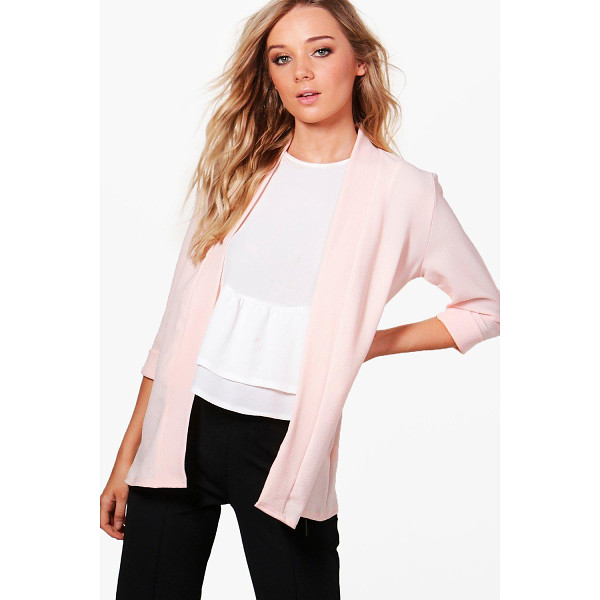 BOOHOO Emilia Collarless Woven Blazer - Wrap up in the latest coats and jackets and get out-there...