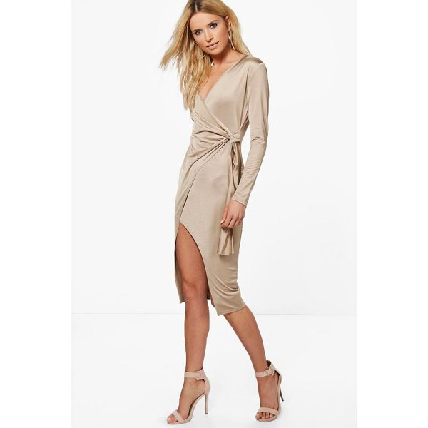 BOOHOO Emilt Slinky Long Sleeve Wrap Midi Dress - Dresses are the most-wanted wardrobe item for day-to-night...