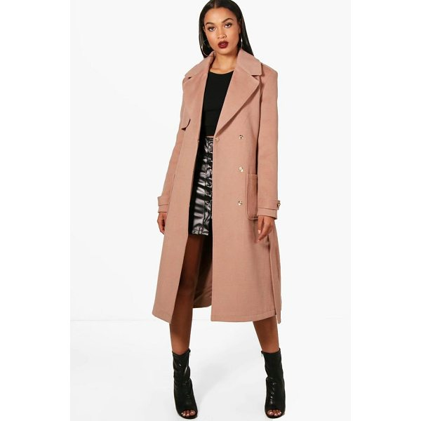 BOOHOO Emily Belted Wool Look Trench Coat - Wrap up in the latest coats and jackets and get out-there...