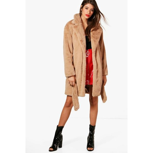 BOOHOO Emily Boutique Belted Faux Fur Coat - Wrap up in the latest coats and jackets and get out-there...