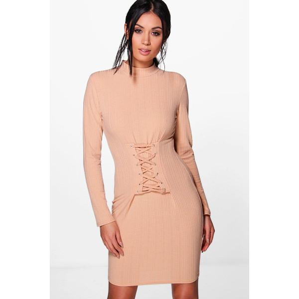 BOOHOO Emily Lace Up Corset Rib Knit Dress - Nail new season knitwear in the jumpers and cardigans that...
