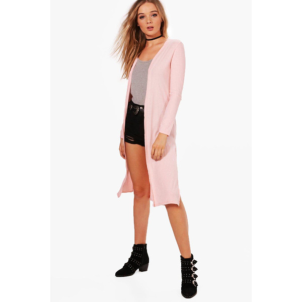BOOHOO Emily Rib Knit Side Split Maxi Cardigan | Nudevotion.com