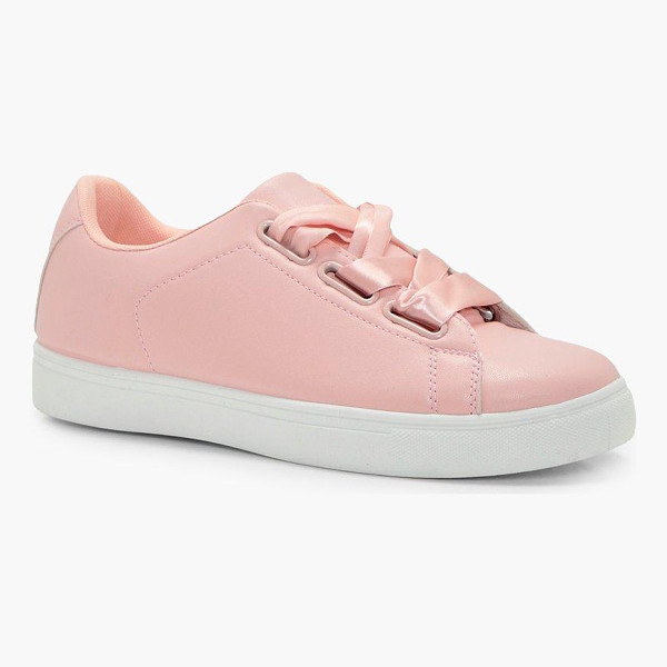 BOOHOO Emily Ribbon Lace Up Trainer - We'll make sure your shoes keep you one stylish step ahead...