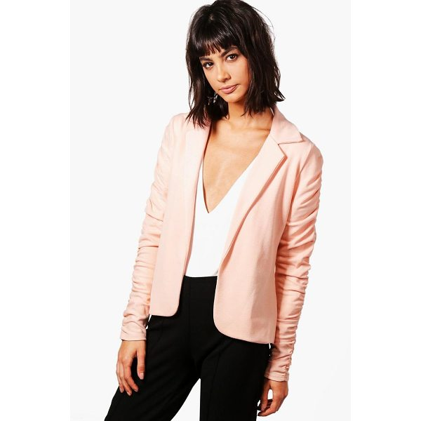 BOOHOO Emily Ruched Sleeve Blazer - Wrap up in the latest coats and jackets and get out-there...