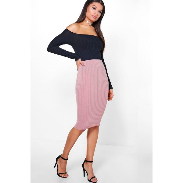 BOOHOO Emily Soft Touch Rib Midi Skirt - Skirts are the statement separate in every wardrobe This...