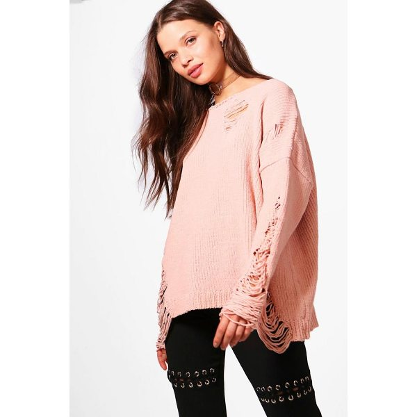 BOOHOO Emma Distressed Chenille Jumper - Nail new season knitwear in the jumpers and cardigans that...