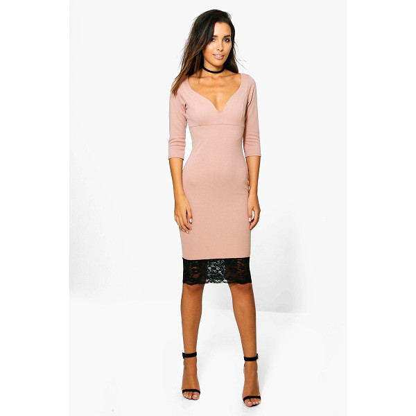 BOOHOO Emma Formal Plunge Lace Hem Midi Dress - Emma Formal Plunge Lace Hem Midi Dress rose