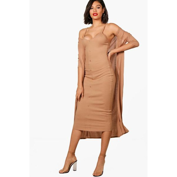 BOOHOO Emma Knitted Midaxi Dress And Cardigan Set - Dresses are the most-wanted wardrobe item for day-to-night...