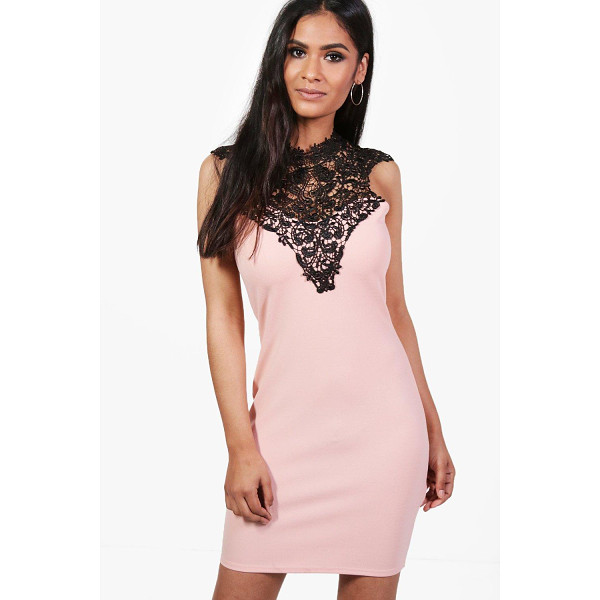 BOOHOO Emma Lace Trim Midi Bodycon Dress - Dresses are the most-wanted wardrobe item for day-to-night...