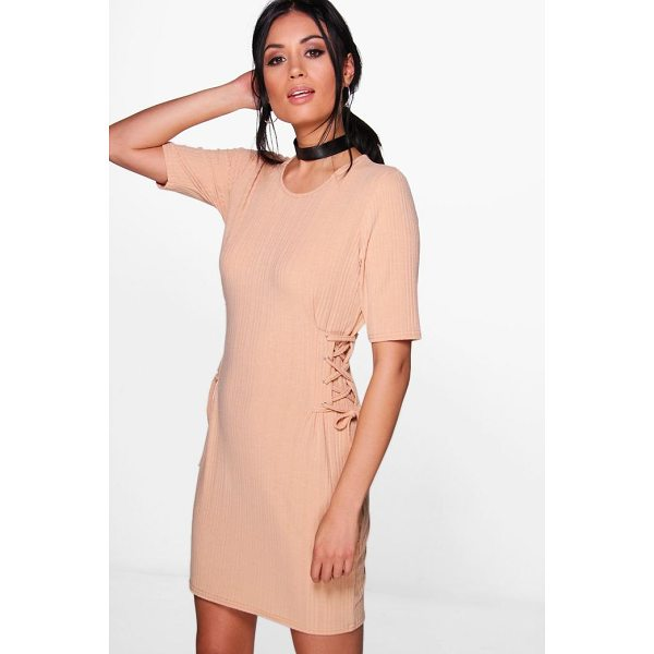 BOOHOO Emma Lace Up Corset Rib Knit T-Shirt Dress - Nail new season knitwear in the jumpers and cardigans that...