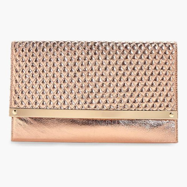 BOOHOO Emma Quilted Metal Bar Clutch Bag - Add attitude with accessories for those fashion-forward...