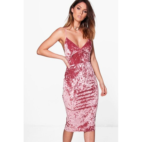 BOOHOO Emzy Crushed Velvet Midi Bodycon Dress - Dresses are the most-wanted wardrobe item for day-to-night...
