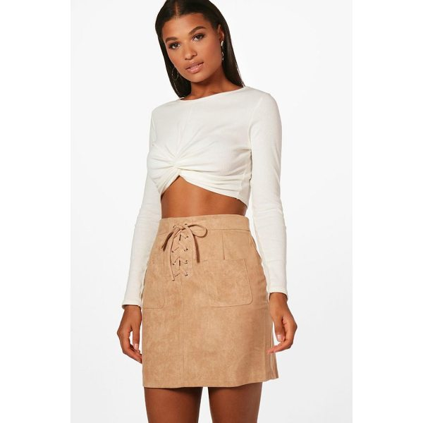 BOOHOO Enna Lace Up Front Suedette Mini Skirt - Skirts are the statement separate in every wardrobe This...
