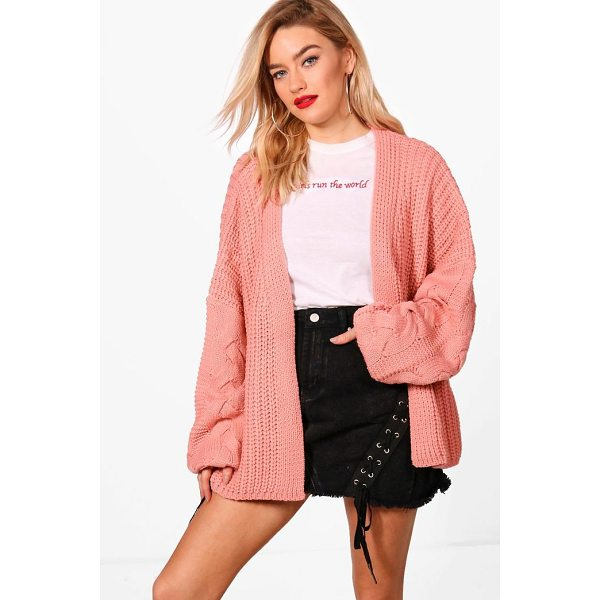 BOOHOO Erin Cable Sleeve Slouchy Cardigan - Nail new season knitwear in the jumpers and cardigans that...
